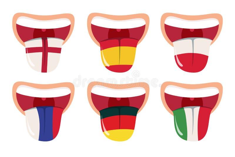 Conceito da tradução das línguas estrangeiras, tradutor em linha, boca aberta com a língua com bandeiras nacionais ilustração stock