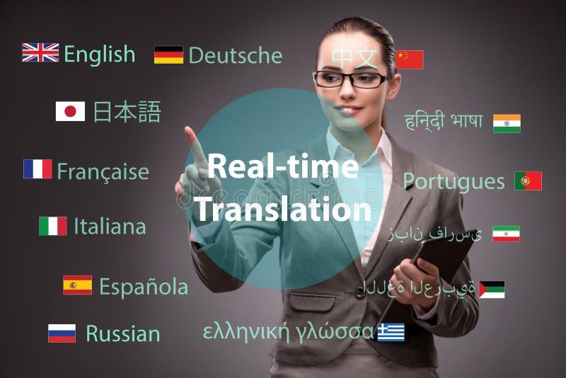 Conceito da tradução em linha da língua estrangeira foto de stock