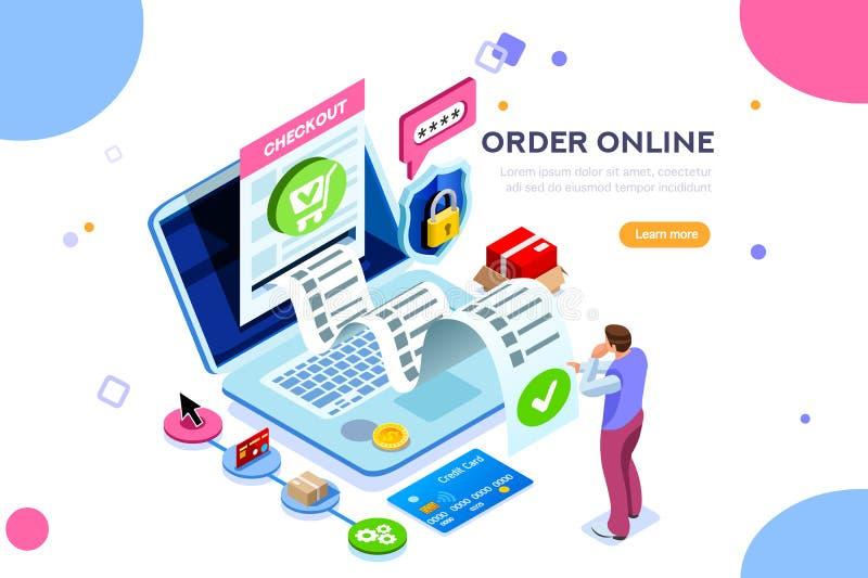 Conceito da transação financeira dos serviços onlines das estatísticas ilustração do vetor