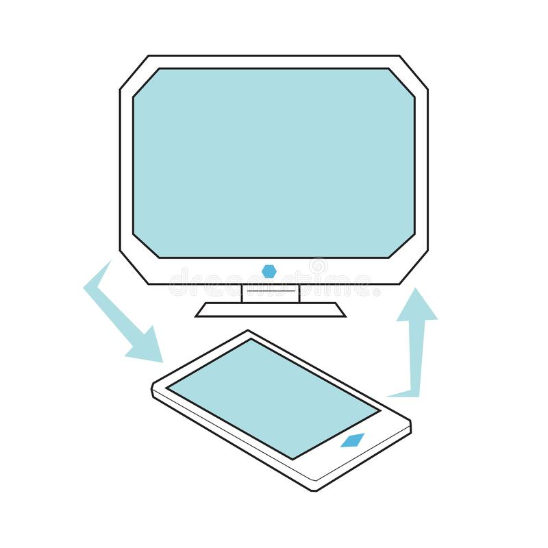 Conceito da transferência de arquivos do Desktop e do telefone celular ilustração stock