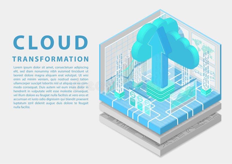 Conceito da transformação da nuvem com símbolo da seta de flutuação da nuvem e da transferência de arquivo pela rede como a ilust ilustração stock