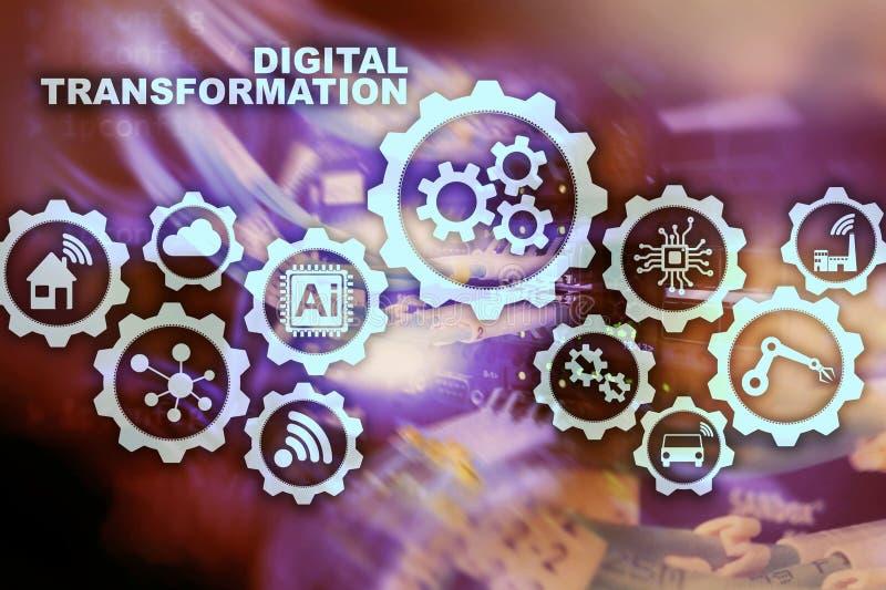 Conceito da transforma??o de Digitas da digitaliza??o de processos de neg?cios da tecnologia Fundo de Datacenter ilustração royalty free
