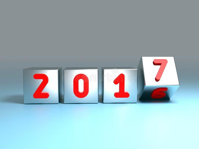 conceito 2016 a 2017 da transição ilustração stock