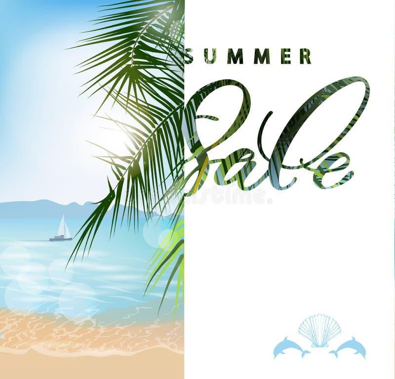 Conceito da venda do verão Fundo com praia, opinião panorâmico bonita do verão do mar das palmeiras, com o céu azul da agua potáv ilustração royalty free