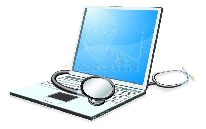 Conceito da verificação de saúde do computador do PC do portátil ilustração stock
