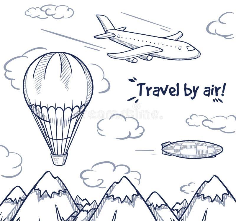 Conceito da viagem do ar da garatuja ilustração do vetor