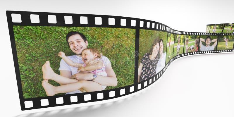 Conceito da vida familiar Fotos da família feliz na tira do filme 3D rendeu a ilustração ilustração stock