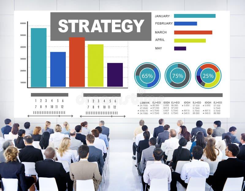 Conceito da visão da solução do mercado do plano da informação de dados da estratégia foto de stock