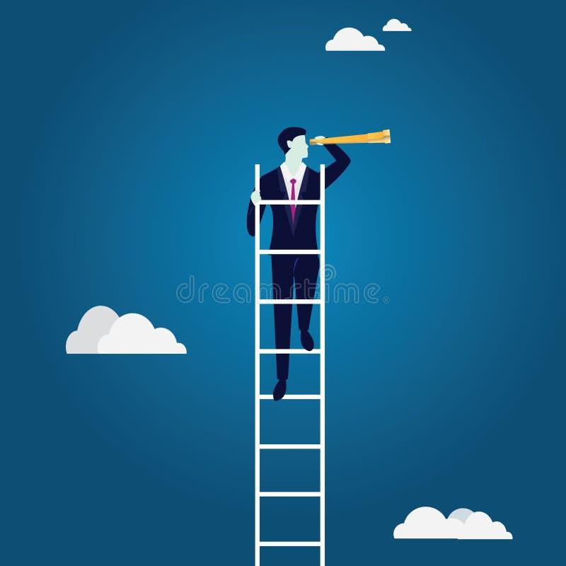 Conceito da visão do negócio Escada de escalada que olha a oportunidade ilustração stock