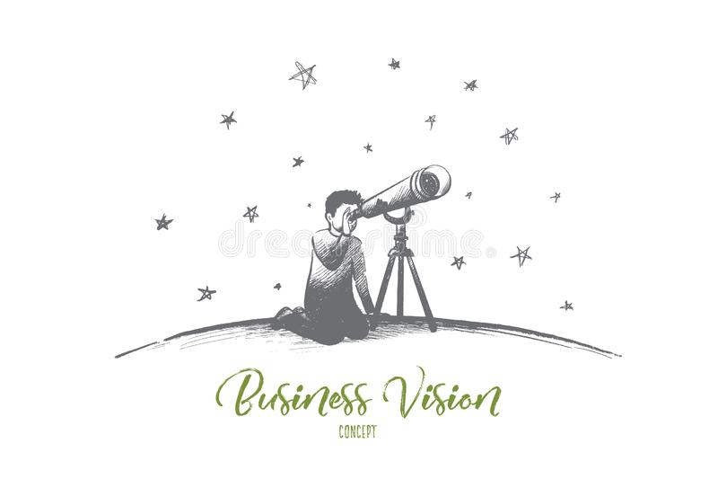 Conceito da visão do negócio Vetor isolado tirado mão ilustração stock