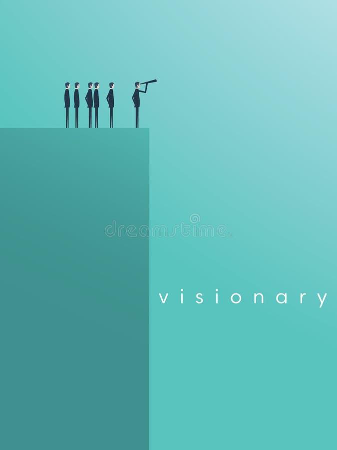 Conceito da visão no negócio com ícone do vetor do homem de negócios e do telescópio, monocular Liderança do símbolo, estratégia ilustração royalty free