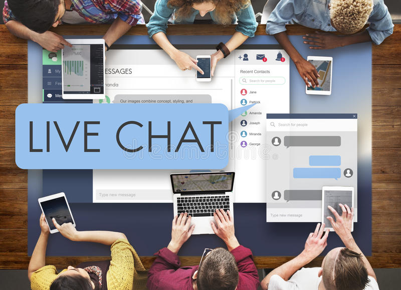 Conceito da Web de Live Chat Chatting Communication Digital imagens de stock royalty free
