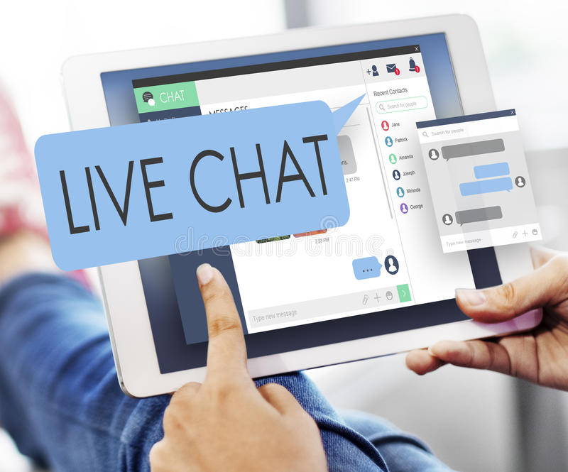 Conceito da Web de Live Chat Chatting Communication Digital fotografia de stock royalty free
