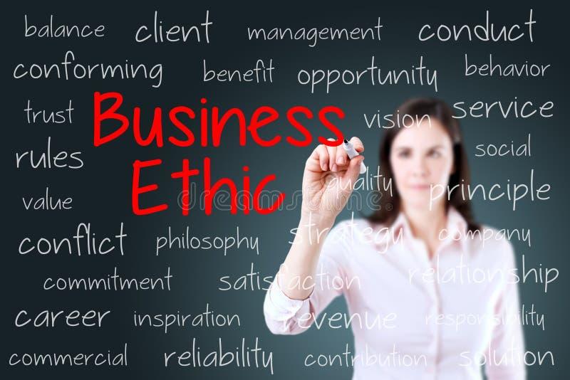 Conceito das éticas de negócio da escrita da mulher de negócio Fundo para um cartão do convite ou umas felicitações imagens de stock