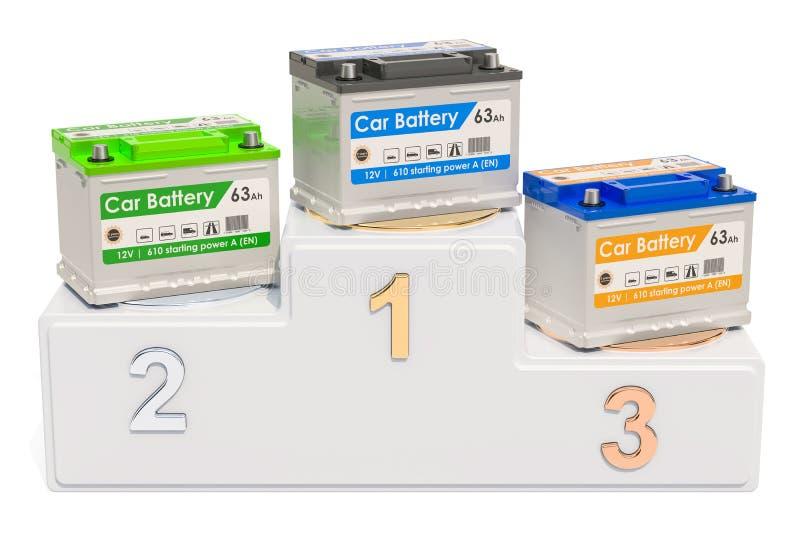 Conceito das avaliações da bateria de carro Pódio dos vencedores com baterias de carro, ilustração royalty free