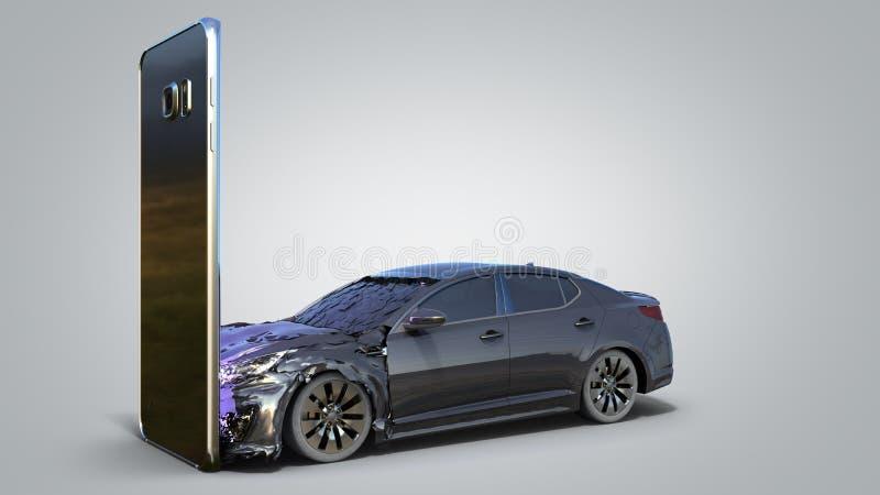 Conceito das consequências de usar um smartphone ao conduzir acidentes de viação em um smartphone 3d para render no inclinação ci ilustração stock