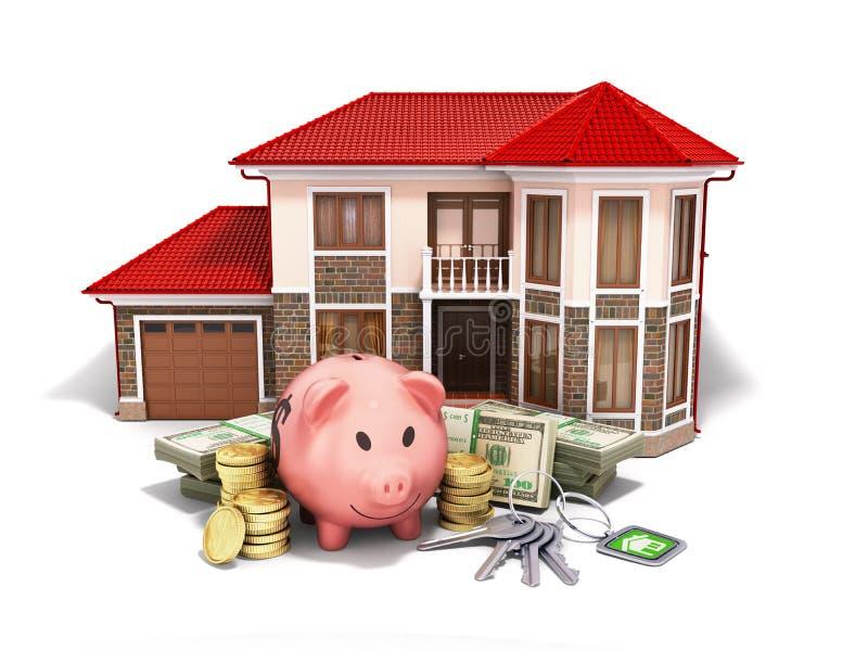 conceito das economias para comprar um porco do dinheiro da casa notas de dólar no stac ilustração do vetor