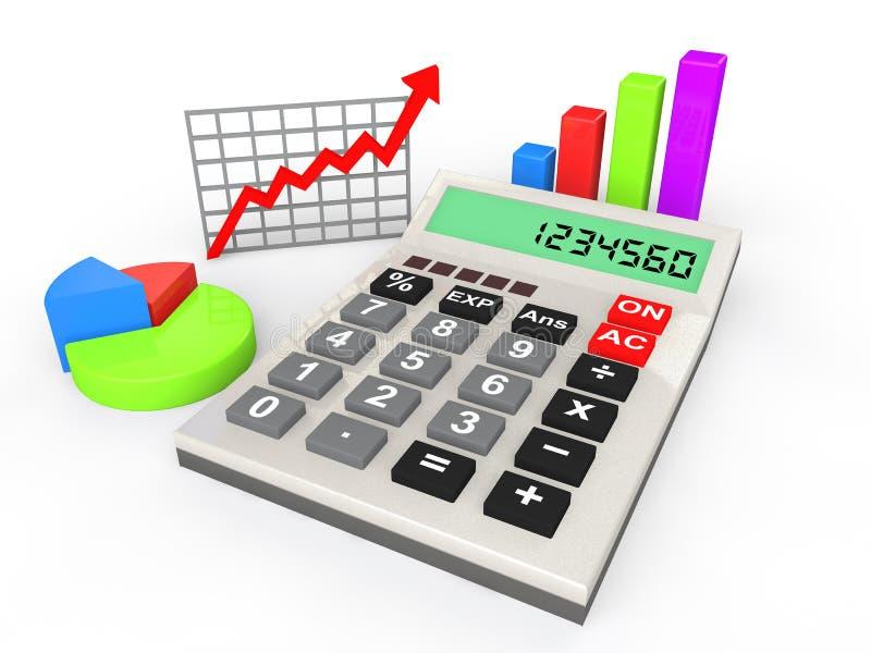 conceito das estatísticas da calculadora 3d ilustração stock