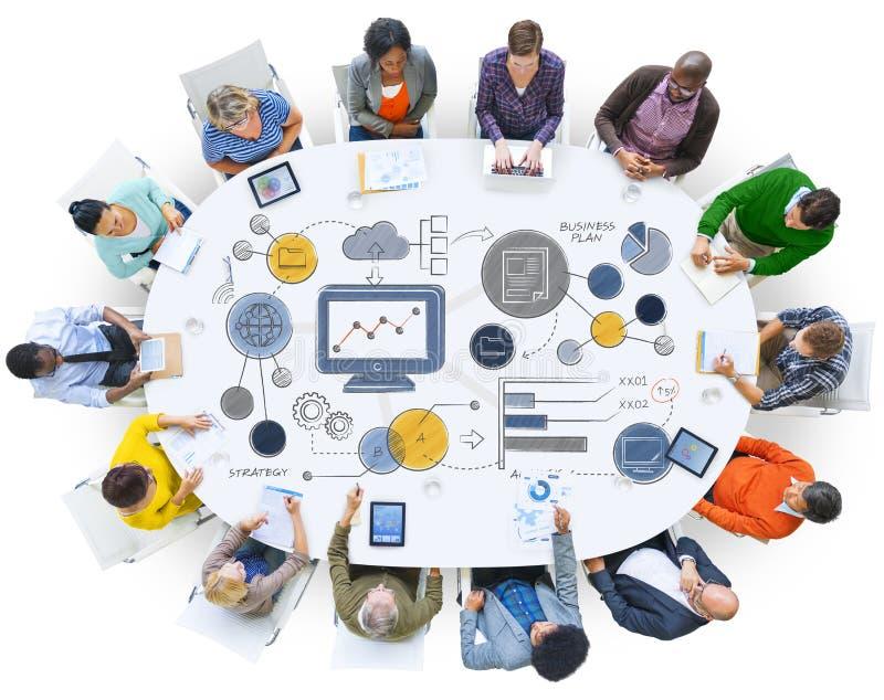 Conceito das estatísticas da informação do planeamento da estratégia do plano de negócios imagens de stock royalty free