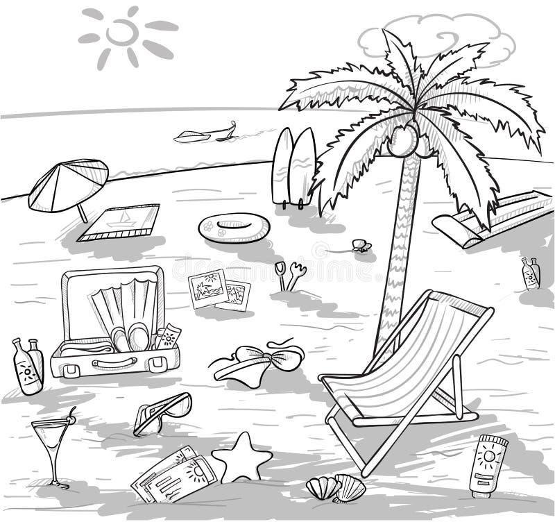 Conceito das férias da praia da garatuja ilustração stock