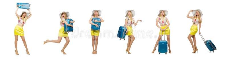 Conceito das f?rias do curso com bagagem no branco fotografia de stock