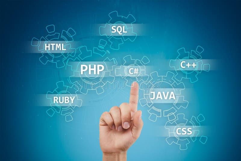 Conceito das ferramentas de desenvolvimento da Web na tela virtual Linguagem de programa??o e roteiros PHP, SQL, HTML, Java e out ilustração stock