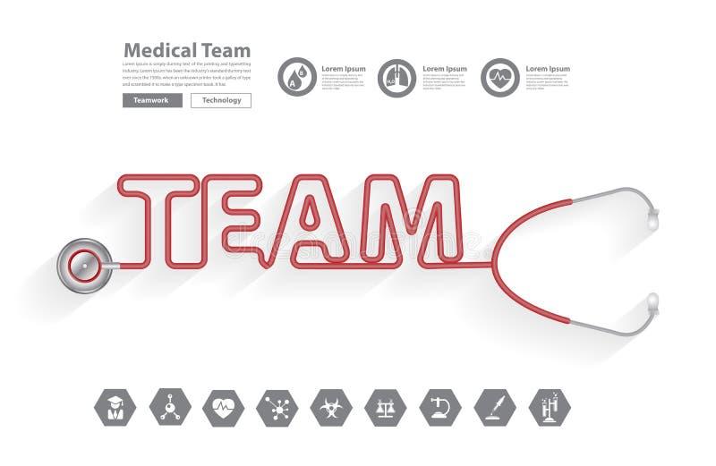 Conceito das ideias da equipa médica do estetoscópio do vetor ilustração stock