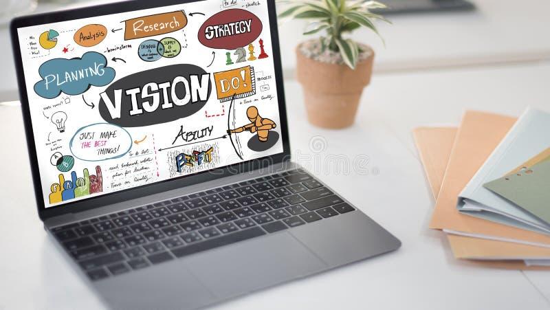 Conceito das ideias da inovação do projeto da pesquisa da estratégia da visão imagens de stock