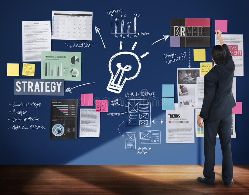Conceito das ideias do negócio da estratégia do planeamento do plano ilustração royalty free