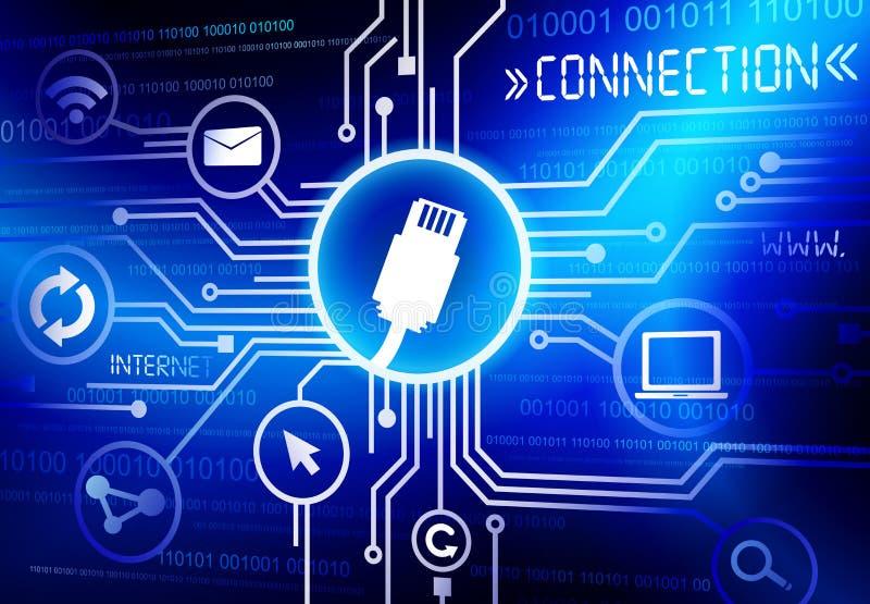 Conceito das inovações do Internet de uma comunicação da conexão da tecnologia ilustração do vetor