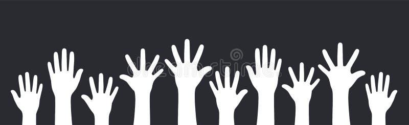 Conceito das mãos levantadas acima no fundo preto ilustração stock