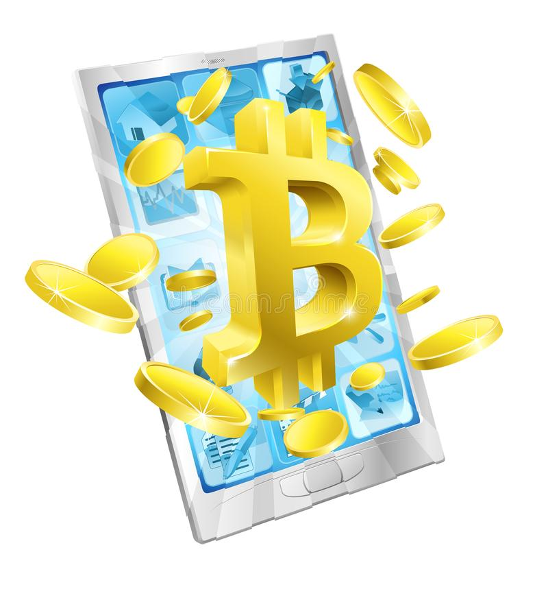 Conceito das moedas de ouro de Bitcoin do telefone celular ilustração stock