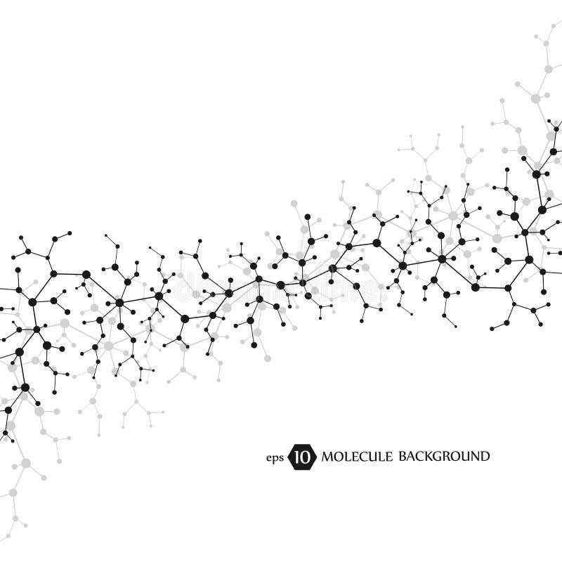 Conceito das moléculas dos neurônios e do sistema nervoso Investigação médica científica Estrutura molecular com partículas ilustração do vetor