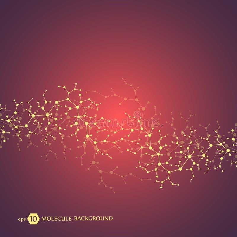 Conceito das moléculas dos neurônios e do sistema nervoso Investigação médica científica Estrutura molecular com partículas ilustração royalty free