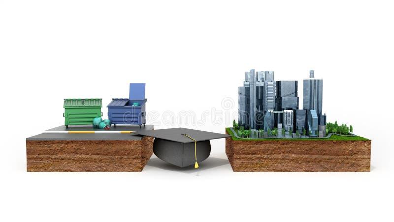 Conceito das oportunidades da carreira da educação o chapéu graduado do ` s como um b ilustração do vetor