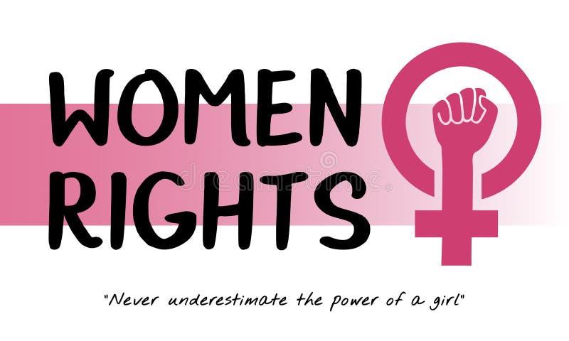 Conceito das oportunidades iguais do feminismo do poder da menina das mulheres ilustração do vetor