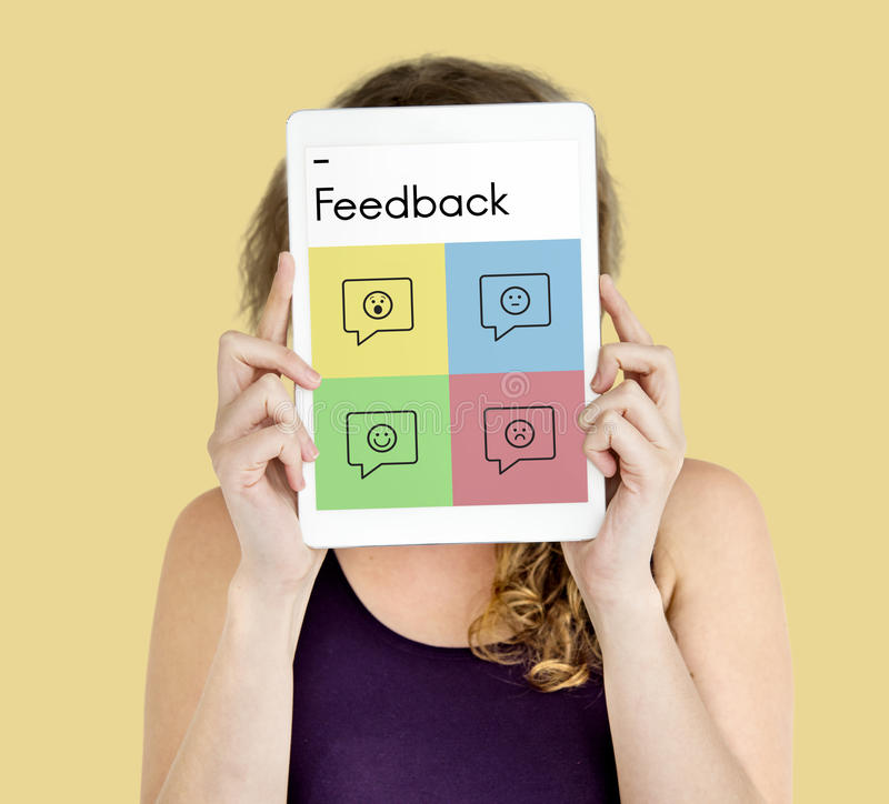 Conceito das sugestões do conselho da resposta da avaliação do feedback imagem de stock