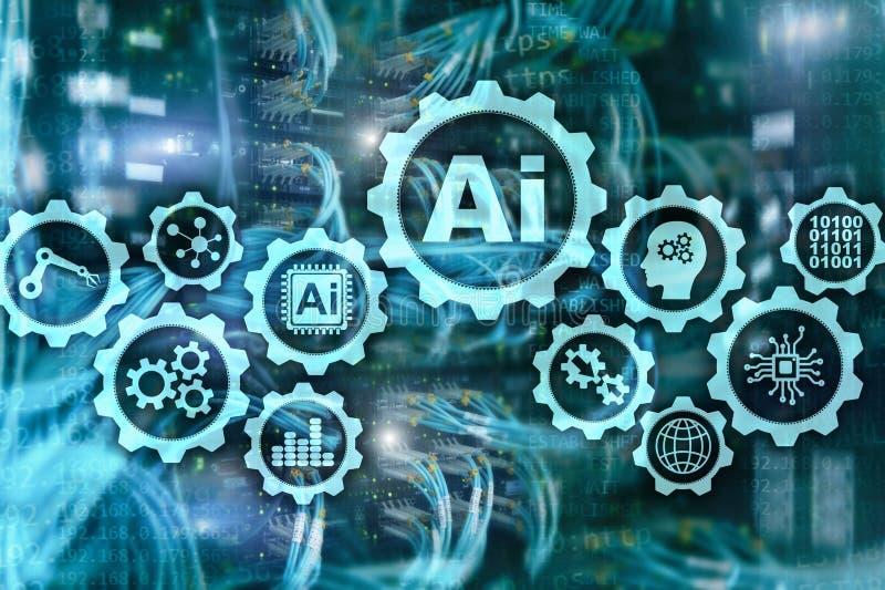 Conceito das tecnologias do negócio da olá!-tecnologia da inteligência artificial Fundo futurista da sala do servidor ai ilustração royalty free
