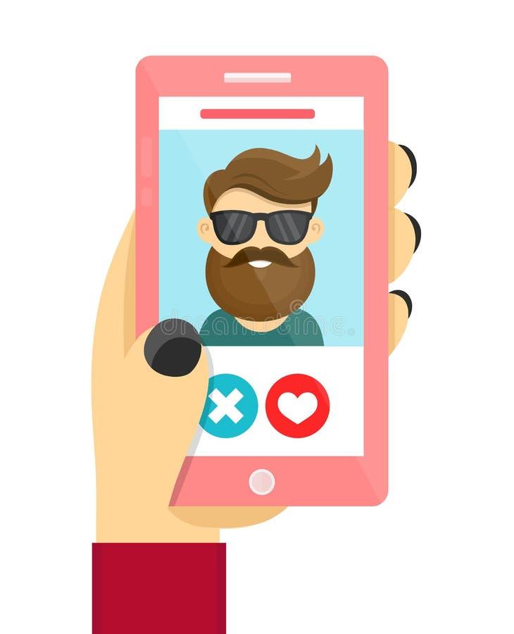 Conceito datando em linha do app do amor ilustração stock