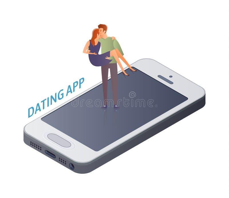 Conceito datando móvel do app Pares, homem e mulher novos em uma data na tela do smartphone Um homem leva uma mulher no seu ilustração do vetor