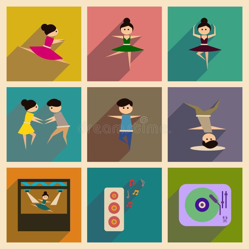 Conceito de ícones lisos com dança longa da sombra ilustração stock