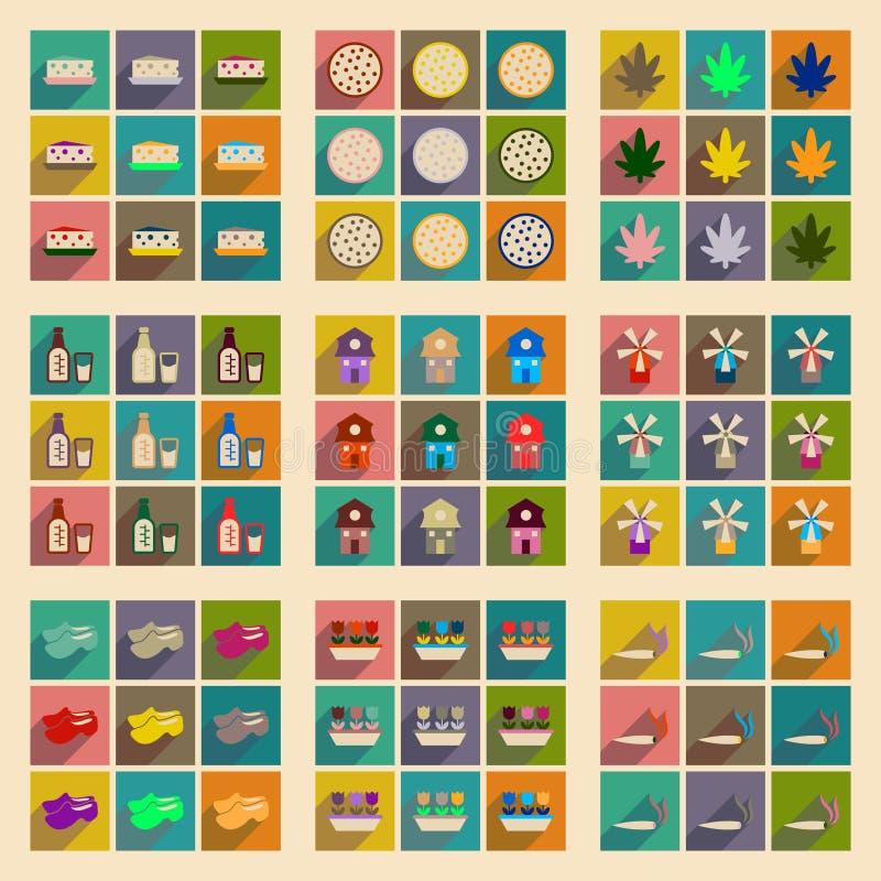 Conceito de ícones lisos com a Holanda longa da sombra ilustração stock