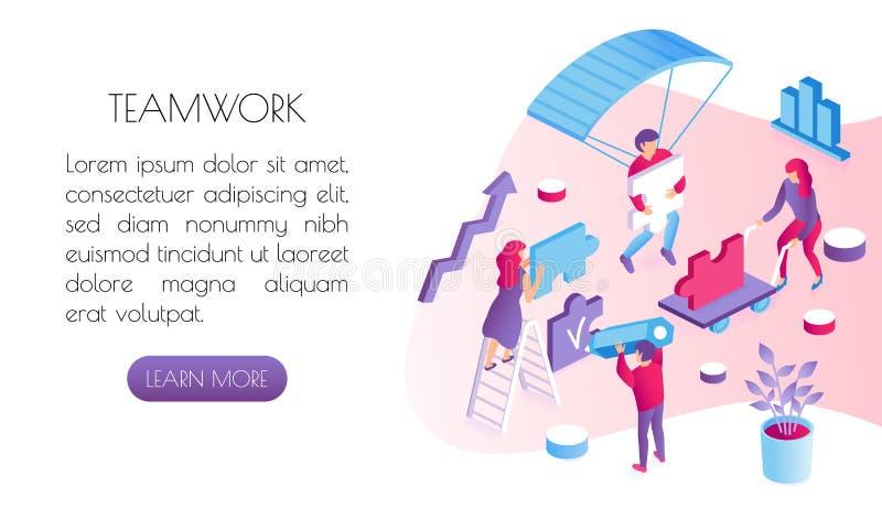 Conceito de Тeamwork Os povos do escritório recolhem o enigma e executam uma tarefa de trabalho ilustração do vetor