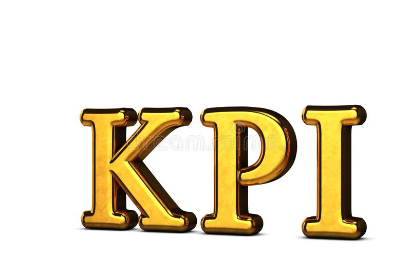 Conceito de abreviação dourada do KPI - Indicador de Desempenho Chave isolado em fundo branco com sombras Renderização 3D ilustração do vetor