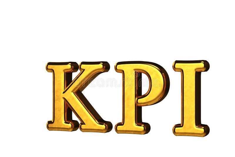 Conceito de abreviação dourada do KPI - Indicador de Desempenho Chave isolado em fundo branco sem sombras Renderização 3D ilustração royalty free