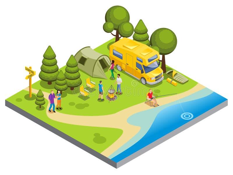 Conceito de acampamento isométrico ilustração stock