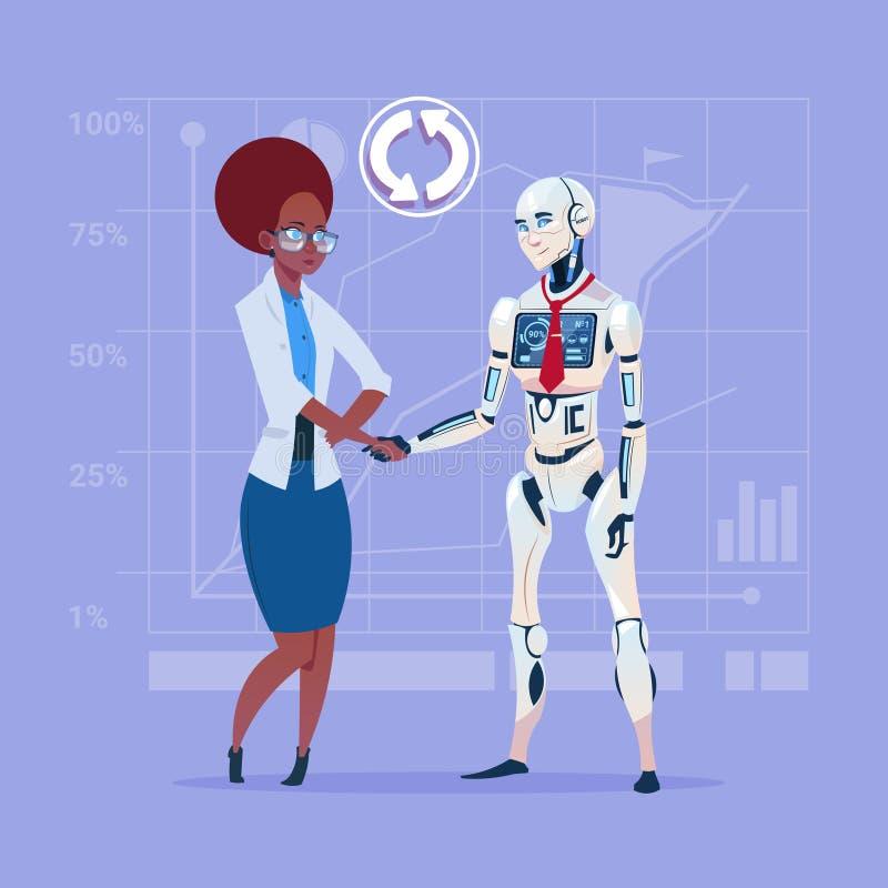 Conceito de agitação da cooperação da inteligência artificial das mãos da mulher de negócio afro-americano e do robô moderno ilustração do vetor