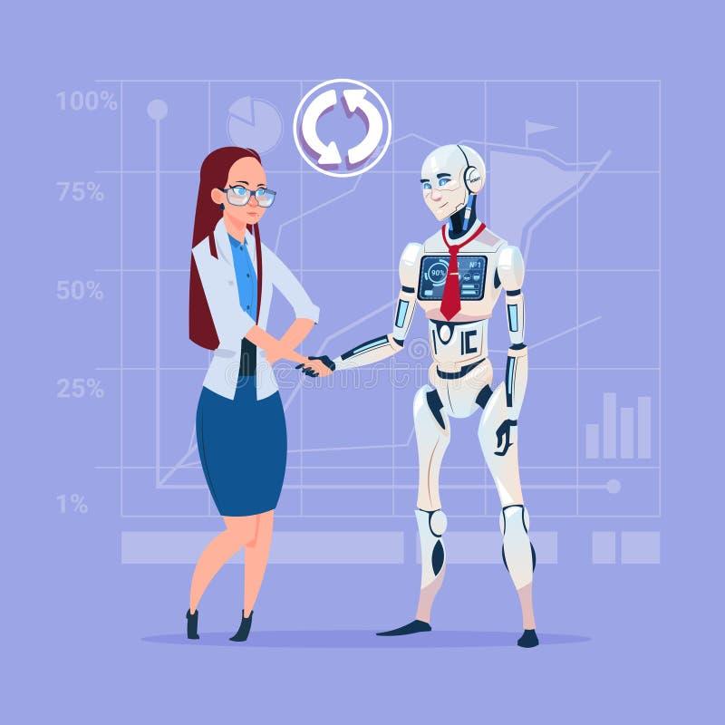 Conceito de agitação da cooperação da inteligência artificial das mãos da mulher de negócio e do robô moderno ilustração stock