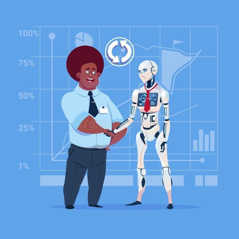 Conceito de agitação da cooperação da inteligência artificial das mãos do homem de negócio afro-americano e do robô moderno ilustração do vetor