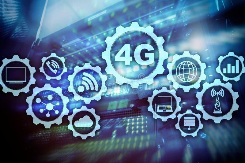 Conceito de alta velocidade celular da conex?o de dados da telecomunica??o m?vel: 4G LTE No fundo da sala do servidor ilustração stock